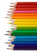 Colorful Crayons Arranged In Line By Colors