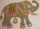 pic of nacked  - glass mosaic tiled colorful elephant with ivory background - JPG