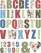 stock photo of decoupage  - Floral Vector Pattern Alphabet Letter Set - JPG