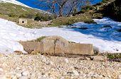 Mosca de fonte, nascente de água de montanha, Gran Sasso, Abruzzo, Itália