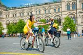 MOSCOW - MAY 19: Cyclists ride during the Day of the Uniform Bike Action on May 19, 2013 in Moscow.