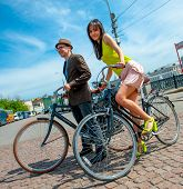MOSCOW - MAY 19: Cyclists pose during the Day of the Uniform Bike Action on May 19, 2013 in Moscow.