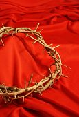Crown Of Thorns On Red Background