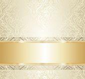 White & Gold Vintage Wallpaper