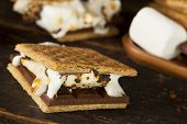 Homemade S'more With Chocolate And Marshmallow