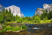 Yosemite Valley with El Captain Rock and Bridal Veil Falls in Yosemite National Park,California