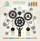 Modern Business Concept , Info Graphic Elements. Man Inserting a Cog Into Series. Complete the Proce
