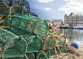 Pile of lobster pots on Kirkwall harbour