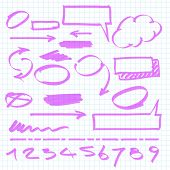 Set of vector marker design elements.