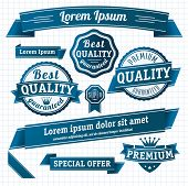 stock photo of paper cut out  - Blue retro style guarantee and quality label collection - JPG