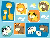 pic of zoo animals  - set of baby animals individual objects very easy to edit - JPG