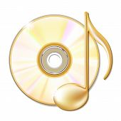 Disco cd e nota musical dourado