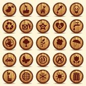 Wood Ecology icons set. Green Environment Symbols
