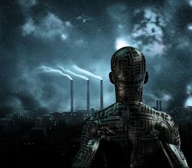 pic of sci-fi  - Human like figure stands before grime city - JPG