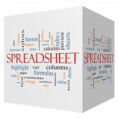 Spreadsheet 3D Cube Word Cloud Concept
