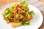 Stir fried pork spicy yellow curry with vegetable
