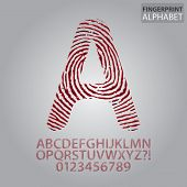 Bloody Fingerprint Alphabet And Numbers Vector