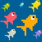 8-bit Pixel Art Multicolored Fish, Seamless Background Tile