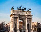 stock photo of neo-classic  - Arch of Peace of Milan built in 1800 in neo - JPG