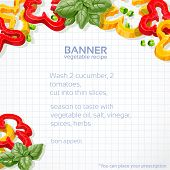 Big vector paper into the cell banner with sweet peppers and bas