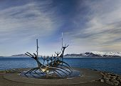 REYKJAVIK, ICELAND - MARCH 9, 2013: Sculpture (Sun Voyager) in Reykjavik, Iceland on March 9, 2013.