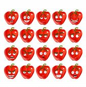 Vector cute cartoon red Bulgarian pepper smile with many express