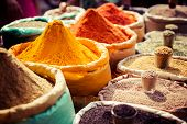 stock photo of stall  - Indian colored spices at local market in New Delhi - JPG