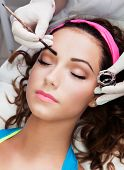 foto of eyebrows  - Eyebrows tinting treatment with natural henna dye - JPG