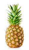 image of tropical food  - Ripe pineapple with green leaves isolated on white background - JPG