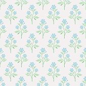 Seamless vector pattern with blue flowers