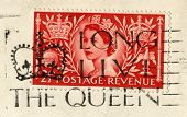 Queen's Coronation Stamp And 'long Live The Queen' Postmark