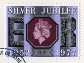 British Postage Stamp Celebrating The Queen's Silver Jubilee