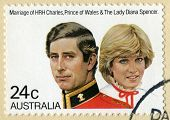 Australian Postage Stamp Celebrating The Marriage Of Charles And Diana