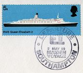 British Postage Stamp Commemorating The Qe2's Maiden Voyage In 1969