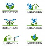 stock photo of trimmers  - An illustration of Irrigation icons - JPG