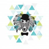 stock photo of safari hat  - Postcard cover design hipster baboon monkey with bow and hat geometric art in vector - JPG