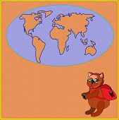 image of siluet  - Cute bear with a backpack and photocamera in cartoon stile - JPG
