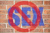 No Sex Sign On Old Brick Wall Texture