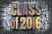 picture of senior prom  - Class of 2016 written in vintage letterpress type - JPG