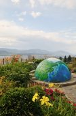Garden with globe by Okanagan lake