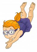 Illustration of a Girl Wearing Goggles Taking a Dive