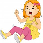 stock photo of annoying  - Illustration of a Little Girl Throwing a Tantrum - JPG