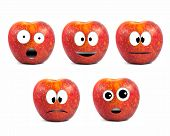 Funny Fruit Character Red Apples On White Background