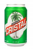HAVANA,CUBA - DECEMBER 25, 2013:Authentic cuban beer Cristal isolated on white.With an alcohol conte