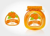 Apricot jam label with jar