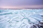 Pieces Of Shelf Ice On Frozen Ijsselmeer Lake