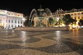 Central place Rossio by night - Lisbon, Portugal
