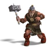 picture of midget  - 3D rendering of a mighty fantasy dwarf with a hammer with clipping path and shadow over white - JPG