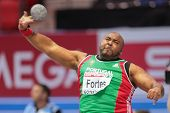 GOTHENBURG, SWEDEN - MARCH 1 Marco Fortes (Portugal) places 5th in the men's shot put final during the European Athletics Indoor Championship on March 1, 2013 in Gothenburg, Sweden.