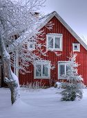 Snowy cottage in Smaland (Sweden)